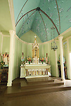 Hawaii: Molokai, church and gravesite at Kalawao of leper priest, Father Damien de Veuster..Photo himolo163-72275.Photo copyright Lee Foster, www.fostertravel.com, lee@fostertravel.com, 510-549-2202