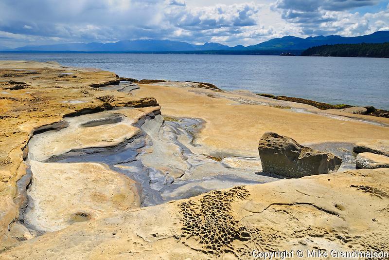 Weathered rock in Gulf Islands<br /> Hornby Island in the Gulf Islands<br /> British Columbia<br /> Canada
