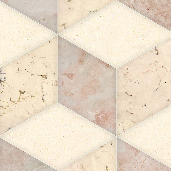 Euclid Grandiose, a hand-cut stone mosaic, shown in polished Italian Rose, Desert Pink, and honed Ivory Cream, is part of the Semplice® collection for New Ravenna.