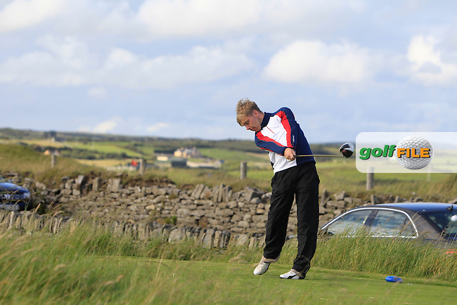 David Foy (Laytown &amp; Bettystown) on the 17th tee during Round 1 of the South of Ireland Amateur Open Championship at LaHinch Golf Club on Wednesday 22nd July 2015.<br /> Picture:  Golffile | Thos Caffrey