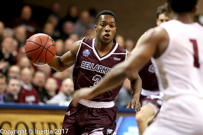 SIOUX FALLS, SD: MARCH 23: Al Davis #3 from Bellarmine looks to make a move against Fairmont State during the Men's Division II Basketball Championship Tournament on March 23, 2017 at the Sanford Pentagon in Sioux Falls, SD. (Photo by Dave Eggen/Inertia)