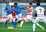 Hamilton Accies v St Johnstone...31.10.15  SPFL  New Douglas Park, Hamilton<br /> Darnell Fisher gets away from Gramoz Kurtaj<br /> Picture by Graeme Hart.<br /> Copyright Perthshire Picture Agency<br /> Tel: 01738 623350  Mobile: 07990 594431