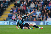 Garry Thompson of Wycombe Wanderers appeals for a free kick during the Sky Bet League 2 match between Wycombe Wanderers and Hartlepool United at Adams Park, High Wycombe, England on 5 September 2015. Photo by Andy Rowland.
