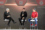 Tom Dumoulin (NED) Team Sunweb and Rohan Dennis (AUS) Bahrain-Merida on stage at the inaugural UAE Tour 2019 opening ceremony and team presentation held in the Louvre Abu Dhabi, United Arab Emirates. 23rd February 2019.<br /> Picture: LaPresse/Fabio Ferrari | Cyclefile<br /> <br /> <br /> All photos usage must carry mandatory copyright credit (© Cyclefile | LaPresse/Fabio Ferrari)