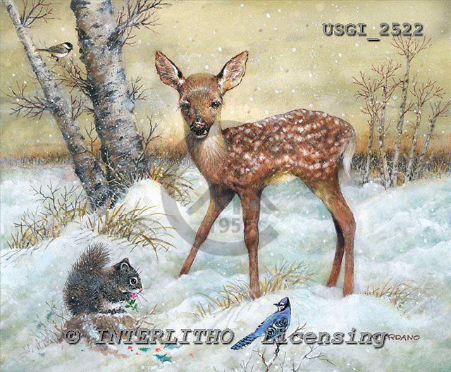 GIORDANO, CHRISTMAS ANIMALS, WEIHNACHTEN TIERE, NAVIDAD ANIMALES, paintings+++++,USGI2522,#XA# deer