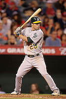 Oakland Athletics infielder Scott Sizemore #29 bats against the Los Angeles Angels at Angel Stadium on September 24, 2011 in Anaheim,California. Los Angeles defeated Oakland 4-2.(Larry Goren/Four Seam Images)