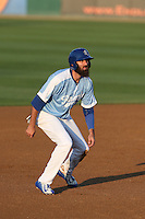 Scott Van Slyke (45) of the Rancho Cucamonga Quakes leads off of second base during a rehab assignment game against the Stockton Ports at LoanMart Field on June 13, 2015 in Rancho Cucamonga, California. Stockton defeated Rancho Cucamonga, 14-2. (Larry Goren/Four Seam Images)