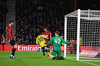 27th January 2020; Vitality Stadium, Bournemouth, Dorset, England; English FA Cup Football, Bournemouth Athletic versus Arsenal; Edward Nketiah of Arsenal turns away to celebrate after scoring in 25th minute 0-2