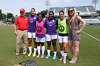 Cary, North Carolina  - Saturday April 29, 2017: Joe Sahlen, Toni Pressley, Jasmyne Spencer, Jamia Fields, Kristen Edmonds and Alex Sahlen during a pregame ceremony honoring the Western New York Flash for winning the 2016 NWSL championship prior to regular season National Women's Soccer League (NWSL) match between the North Carolina Courage and the Orlando Pride at Sahlen's Stadium at WakeMed Soccer Park.