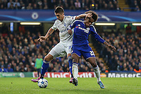 Willian of Chelsea (right) and Yevhen Khacheridi of Dynamo Kyiv battle for the ball during the UEFA Champions League Group match between Chelsea and Dynamo Kyiv at Stamford Bridge, London, England on 4 November 2015. Photo by David Horn.