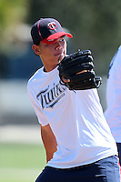 Minnesota Twins pitcher Kuo Hua Lo #54 during practice before an Instructional League game against the New York Mets at Lee County Sports Complex on October 4, 2011 in Fort Myers, Florida.  (Mike Janes/Four Seam Images)
