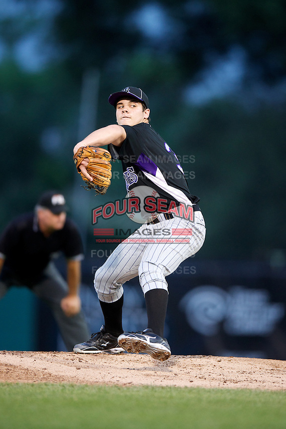 Brett Morales #34 of King High School in Tampa, Florida playing for the Colorado Rockies scout team during the East Coast Pro Showcase at Alliance Bank Stadium on August 1, 2012 in Syracuse, New York.  (Mike Janes/Four Seam Images)