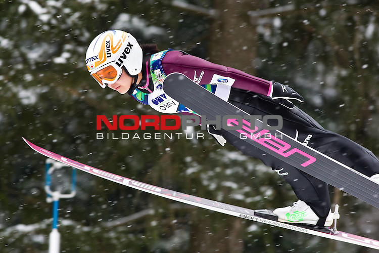 12.2.2012., Ljubno, Slovenia - 2nd place TAKANASHI Sara (JPN) flies thru the air in Ladies FIS Ski Jumping World Cup 2012 on February 12, 2012 in Ljubno, Slovenia.<br /> <br /> Foto &copy; nph / Saso Domijan