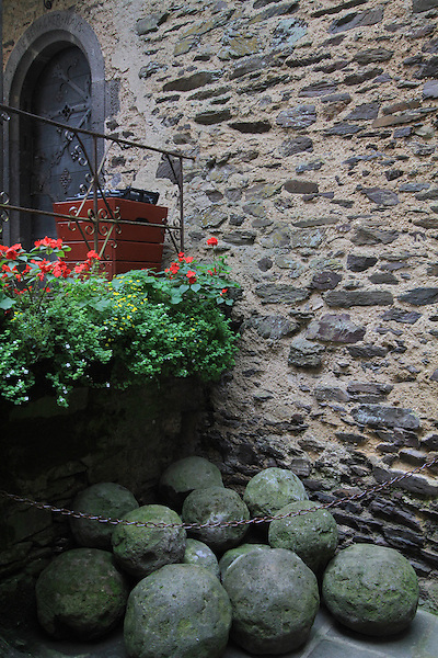 Cannonballs piled at Burg Eltz Castle along the Mosel River Valley, France