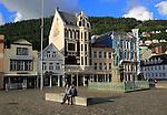Ludvig Holberg statue in Vågsallmenningen, Bergen, Norway