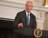 Florida Governor Rick Scott speaks during the 2018 White House Business Session with  Governors, February 26, 2018, at The White House in Washington, DC. Photo by Chris Kleponis/ CNP