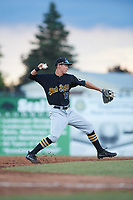 West Virginia Black Bears shortstop Andrew Walker (13) throws to first base for the out during a game against the Batavia Muckdogs on June 26, 2017 at Dwyer Stadium in Batavia, New York.  Batavia defeated West Virginia 1-0 in ten innings.  (Mike Janes/Four Seam Images)
