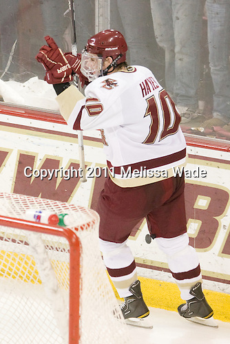 Jimmy Hayes (BC - 10) scored an empty net goal with 30 seconds left in the third period to complete scoring in the game. - The Boston College Eagles defeated the visiting University of Massachusetts-Lowell River Hawks 5-3 (EN) on Saturday, January 22, 2011, at Conte Forum in Chestnut Hill, Massachusetts.