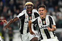 Calcio, Serie A: Juventus vs Milan. Torino, Juventus Stadium, 10 marzo 2017.<br /> Juventus&rsquo; Paulo Dybala, right, celebrates with his teammate Moise Kean after scoring on a penalty kick the winning goal during the Italian Serie A football match between Juventus and AC Milan at Turin's Juventus Stadium, 10 March 2017. Juventus won 2-1.<br /> UPDATE IMAGES PRESS/Manuela Viganti