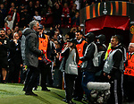 Jose Mourinho manager of Manchester United celebrates as he walks off during the Europa League Semi Final 2nd Leg match at Old Trafford Stadium, Manchester. Picture date: May 11th 2017. Pic credit should read: Simon Bellis/Sportimage