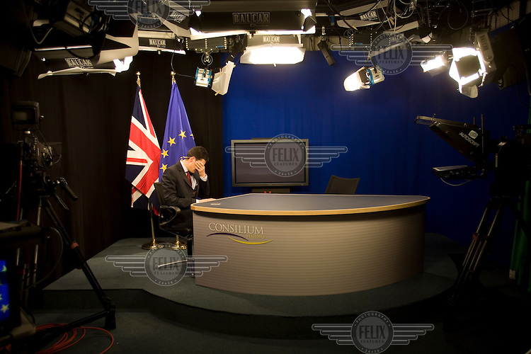 David Miliband, British Secretary of State for Foreign and Commonwealth Affairs, and Member of Parliament for South Shields, Tyne and Wear, during a live broadcast with a TV channel in the European Parliament.