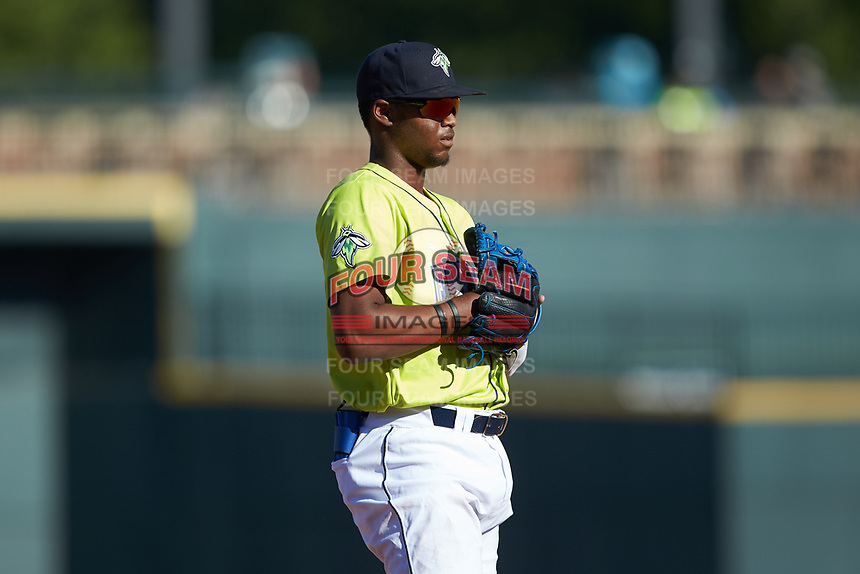 Columbia Fireflies third baseman Shervyen Newton (3) on defense against the Rome Braves at Segra Park on May 13, 2019 in Columbia, South Carolina. The Fireflies walked-off the Braves 2-1 in game one of a doubleheader. (Brian Westerholt/Four Seam Images)
