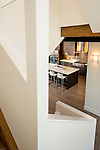 Looking down into a contemporary kitchen from the staircase. This image is available through an alternate architectural stock image agency, Collinstock located here: http://www.collinstock.com