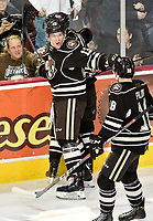 HERSHEY, PA - JANUARY 05: Hershey Bears right wing Beck Malenstyn (13) and Hershey Bears center Garrett Pilon (18) celebrate after a goal during the Grand Rapids Griffins vs. Hershey Bears AHL game at the Giant Center in Hershey, PA. (Photo by Randy Litzinger/Icon Sportswire)