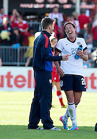 02 June 2013: U.S. Women's National Team forward Abby Wambach #20 celbrates the win at the end of an International Friendly soccer match between the U.S. Women's National Soccer Team and the Canadian Women's National Soccer Team at BMO Field in Toronto, Ontario.<br /> The U.S. Women's National Team Won 3-0.