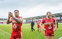 Picture by Allan McKenzie/SWpix.com - 04/03/2017 - Rugby League - Betfred Super League - Salford Red Devils v Warrington Wolves - AJ Bell Stadium, Salford, England - Salford's Greg Johnson & Josh Jones celebrate to the fans after their victory over Warrington.