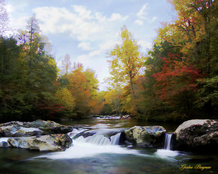 A faux watercolor representation of the image The Brier in Fall, prepared in Photoshop. Smoky Mountain photos by Gordon and Jan Brugman.