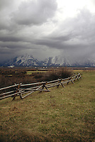 WEATHER<br /> Passing Storm<br /> Rail fence in Grand Teton National Park