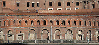 Semi-circular Trajan's Markets, early 2nd century, Trajan's Forum, Rome, Italy. The brick built ancient shopping mall was having shops on the ground floor, whose arched entrances are seen here, and offices above. Picture by Manuel Cohen