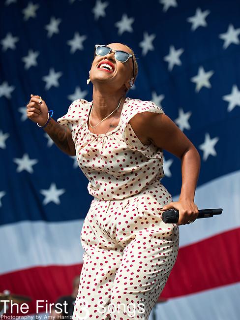 Emeli Sande performs during the 2013 Budweiser Made in America Festival in Philadelphia, Pennsylvania.