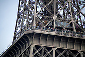 Tourists look down from an observation decking they very high resolution view of the Eiffel Tower from a boat on the River Seine in Paris, France  on Thursday, May 31, 2018.<br /> Credit: Ron Sachs / CNP