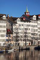 Schipfe riverfront reflected in the Limmat River, Zürich Switzerland