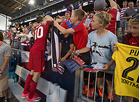 Commerce City, CO - Thursday June 08, 2017: Christian Pulisic, Fans during a 2018 FIFA World Cup Qualifying Final Round match between the men's national teams of the United States (USA) and Trinidad and Tobago (TRI) at Dick's Sporting Goods Park.