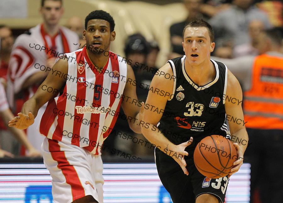 Kosarka ABA League season 2015-2016<br /> Crvena Zvezda v Partizan<br /> Danilo Andjusic (R) and Ryan Thompson<br /> Beograd, 03.11.2015.<br /> foto: Srdjan Stevanovic/Starsportphoto&copy;