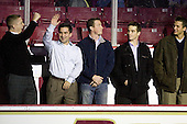 Kenny Ryan, Justin Murphy, Matt Greene, Pat Gannon, Joe Adams - The Boston College Eagles defeated the visiting Merrimack College Warriors 3-2 on Friday, October 29, 2010, at Conte Forum in Chestnut Hill, Massachusetts.