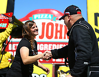 May 21, 2017; Topeka, KS, USA; NHRA top alcohol dragster driver Rachel Meyer (left) congratulates race winner Shawn Cowie during the Heartland Nationals at Heartland Park Topeka. Mandatory Credit: Mark J. Rebilas-USA TODAY Sports