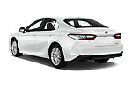 Car pictures of rear three quarter view of a 2019 Toyota Camry Premium 4 Door Sedan angular rear