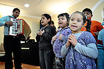 "THIS PHOTO IS AVAILABLE AS A PRINT OR FOR PERSONAL USE. CLICK ON ""ADD TO CART"" TO SEE PRICING OPTIONS.   A children's choir sings during a worship service of the United Methodist Roma congregation in Jabuka, Serbia.."