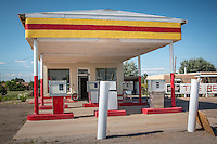 The last remaining Whiting Bros. gas station in Moriarty New Mexico. The Whiting Bros. gas stations were founded in 1926 and were a familiar sight all along Route 66 in the Southwest.  The chain ended in the 1990 with only one station left which was purchased by Sal Lucero a lifelong employee of  Whiting Bros. and never changed the name.