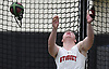 John Antonelli of Syosset makes a weight throw during the event's Nassau County championship and state qualifier at St. Anthony's High School on Monday, Feb. 6, 2017.