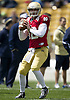 April 20, 2013: Notre Dame Fighting Irish quarterback Andrew Hendrix (12) passes the ball during the Notre Dame Blue-Gold Spring game at Notre Dame Stadium in South Bend, Indiana.  The Defense topped the Offense by a score of 54-43.