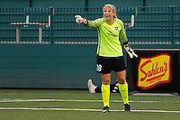 Rochester, NY - Saturday May 21, 2016: Sky Blue FC goalkeeper Caroline Stanley (18). The Western New York Flash defeated Sky Blue FC 5-2 during a regular season National Women's Soccer League (NWSL) match at Sahlen's Stadium.