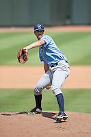 Wilmington Blue Rocks relief pitcher Derek Gordon (31) in action against the Winston-Salem Dash at BB&T Ballpark on June 5, 2016 in Winston-Salem, North Carolina.  The Dash defeated the Blue Rocks 4-0.  (Brian Westerholt/Four Seam Images)
