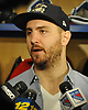 Kevin Shattenkirk of the New York Rangers speaks with the media in the locker room of Madison Square Garden Training Center in Greenburgh, NY on Tuesday, April 10, 2018.