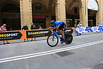 Movistar Team riders head out for a practice run before Stage 1 of the 2019 Giro d'Italia, an individual time trial running 8km from Bologna to the Sanctuary of San Luca, Bologna, Italy. 11th May 2019.<br /> Picture: Eoin Clarke | Cyclefile<br /> <br /> All photos usage must carry mandatory copyright credit (© Cyclefile | Eoin Clarke)