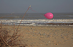 Pink balloon, Benacre Broad, national nature reserve, Suffolk, England
